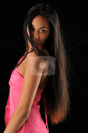 Long hair stock photo, Long haired, dark skinned beauty against a black background by Harris Shiffman