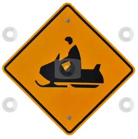 Snowmobile Crossing stock photo, Snowmobile Crossing isolated road sign by Harris Shiffman