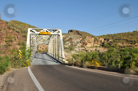 Trestle stock photo, Single lane trestle bridge on Apache Trail, Canyon Lake, northeast of Phoenix, Arizona by Harris Shiffman