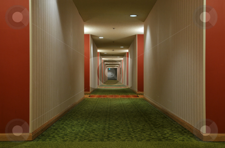 Corridor stock photo, Look down a hotel corridor by Harris Shiffman