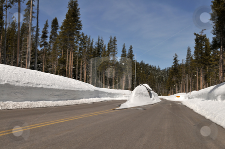 Snowed in stock photo, Tollbooth entrance to Crater Lake National Park, Oregon, closed for the winter by Harris Shiffman