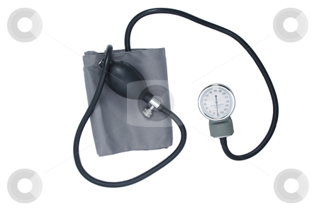 Blood Pressure Meter stock photo, A simple manual blood pressure meter. Isolated on white. by Martin Darley