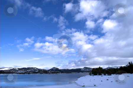 Blue Lake stock photo, Loon lake in the California Sierra Nevada mountains on an ice cold winter day. by Lynn Bendickson