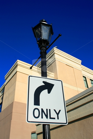 Right Turn Only Sign stock photo,  by Michael Felix