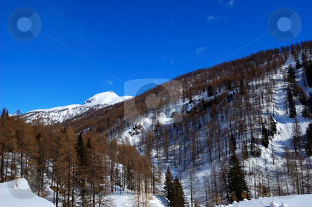 Snowy mountain landscape stock photo, Snowy mountain landscape by ALESSANDRO TERMIGNONE