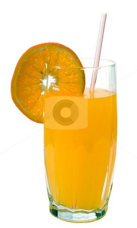 Orange Juice stock photo, A tall glass of orange juice with a fresh slice on the edge, isolated against a white background by Richard Nelson