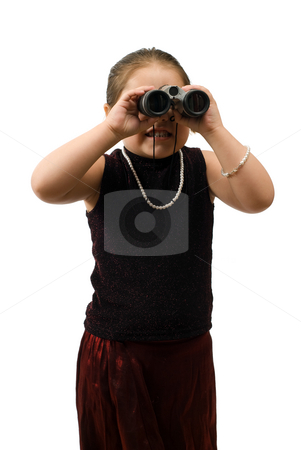 On The Lookout stock photo, A young girl wearing a pretty dress and looking through a pair of binoculars, isolated against a white background by Richard Nelson