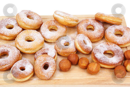 Doughnut stock photo, Fresh and warm doughnuts isolated on white background by Jolanta Dabrowska
