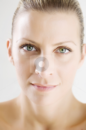 Beauty portrait stock photo, Retouched beauty portrait  of young woman with clean skin by Liv Friis-Larsen