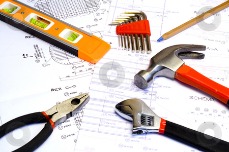 Blueprint and Tools stock photo, A technical design (blueprint) with a few tools by Petr Koudelka