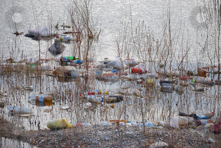 Trash stock photo, Trash floating polluting water in a pond. by Ivan Paunovic