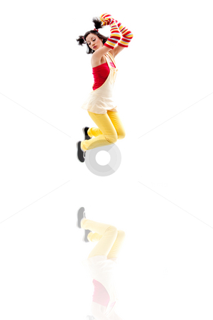Jumping girl stock photo, Latina girl wearing red yellow clothes jumping with reflection, isolated by Paul Hakimata