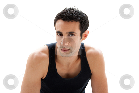 Handsome guy face stock photo, Handsome Caucasian guy wearing black tank top showing bare shoulders and 5 o'clock shadow, isolated by Paul Hakimata