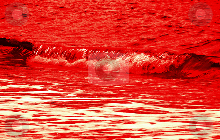 Bloody red wave stock photo, Single bloody red wave on water background by Julija Sapic