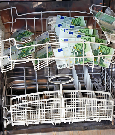 Washing money stock photo, Clean new hundred euro banknotes in dishwasher by Julija Sapic