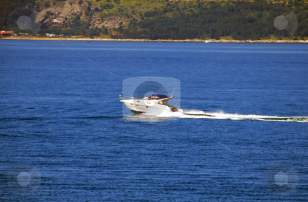 Speed-boat over blue sea stock photo, White speed-boat on blue adriatic sea moving by Julija Sapic
