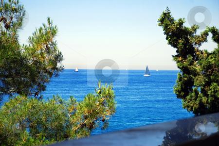 Sailing ships over blue sea stock photo, White sailing ships over blue adriatic sea by Julija Sapic