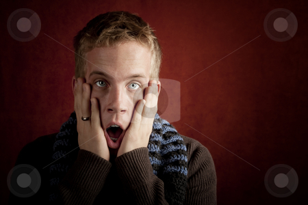 Shocked young man stock photo, Shcoked young man with hands up to his face by Scott Griessel