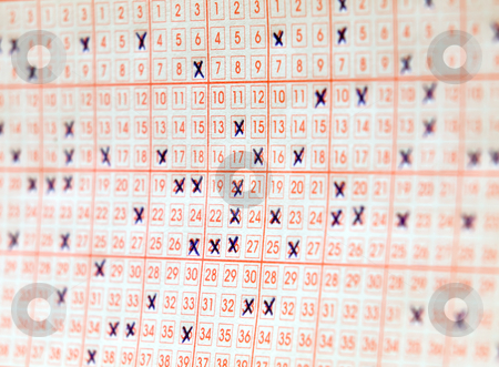 Lottery ticket stock photo, Close up view of one filled lottery ticket by Sinisa Botas