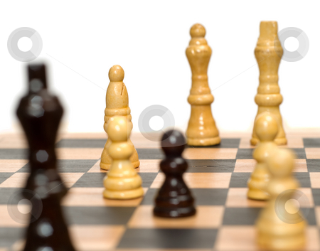Chess Game stock photo, Closeup view of a chess game, isolated against a white background by Richard Nelson