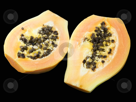 Papaya stock photo, Papaya  isolated on a black background. by Sinisa Botas