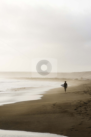 Peruvian Surfer stock photo, Beach landscape with surfer early morning by Audrey Amelie Rudolf
