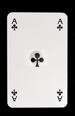 Ace Of Clubs stock photo, Ace Of Clubs Isolated on Black by Ingvar Bjork