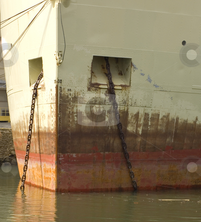 Achor chains stock photo, Anchor chains onan old rusty hull by Jonathan Hull