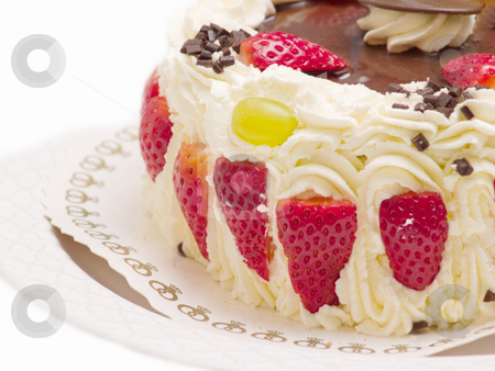 Delicious layer cake with strawberries and cream stock photo, Delicious layer cake with strawberries and  cream by Phillip Dyhr Hobbs