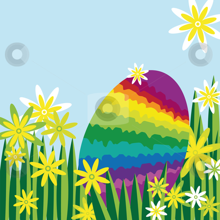 Rainbow easter egg hidden in a flower meadow  stock vector clipart, Rainbow easter egg hidden in a meadow covered with flowers by Karin Claus