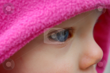 Very Close Up Side View of a Baby's Blue Eye stock photo, Very closeup shot from a side view of a Caucasian baby's blue eye, framed by a bright pink hat. by Valerie Garner