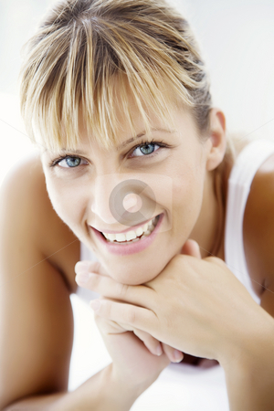 Happy young woman stock photo, Closeup of smiling female by Liv Friis-Larsen