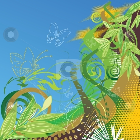 Floral background  stock vector clipart, Abstract vector floral background with butterflies by Milsi Art