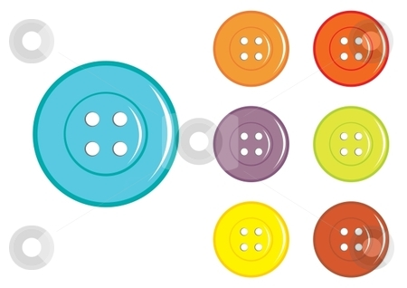 Buttons stock vector clipart, Set of Vector Sewing Button in various colors by Milsi Art