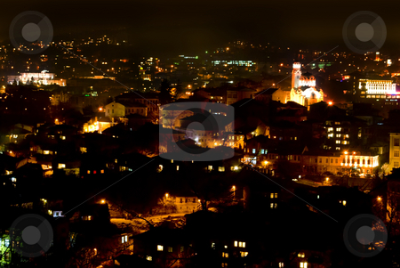 Night scene Veliko Turnovo stock photo, City view night scene Veliko Turnovo Bulgaria by Desislava Dimitrova