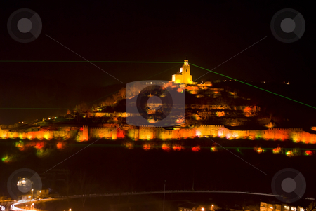 Light show Tsarevets fortress stock photo, Light show Tsarevets fortress Veliko Turnovo Bulgaria by Desislava Dimitrova