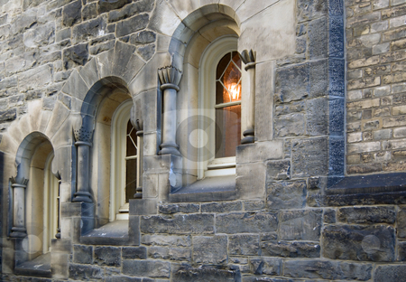 Tree windows stock photo, Tree windows in stone brick wall of old building by Pavel Cheiko