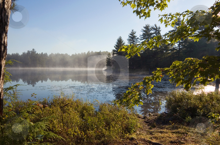 Lake stock photo, Fog above forest lake in Killarney Park in the morning by Pavel Cheiko