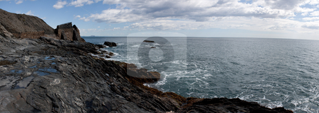 Rocky coast panorama stock photo, Rough sea panoramic view of the rocky coast of southern Spain by Santiago Hernandez