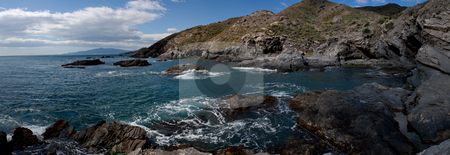 Rocky panoramic seashore stock photo, Rough sea panoramic view of the rocky coast of southern Spain by Santiago Hernandez