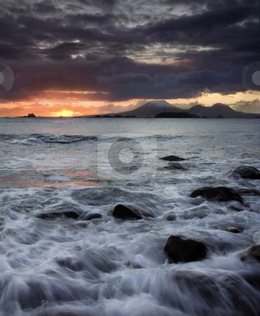 Mt. Edgecumbe Sunset stock photo, A stormy sunset over Mt. Edgecumbe near Sitka, Alaska by Mike Dawson