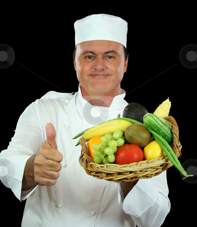 Healthy Chef stock photo, Chef gives the thumbs up to healthy fruit and vegetables. by Brett Mulcahy