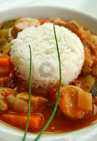Chicken Gumbo stock photo, Delicious chicken gumbo with rice, sausage, peppers, onions, carrots and tomatoes. by Brett Mulcahy