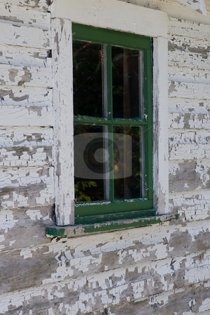 Green Window stock photo, A green window surrounded by a weathered white by Kevin Woodrow
