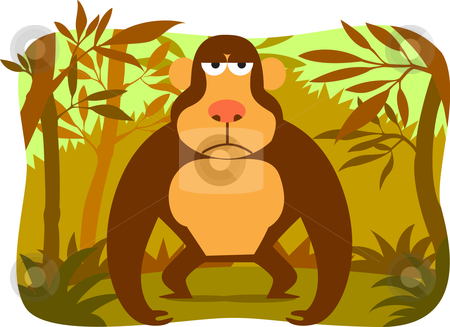 Cartoon gorilla stock vector clipart, Collection cartoon animal by Larintorn Promin
