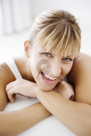 Happy  stock photo, Closeup of smiling woman by Liv Friis-Larsen