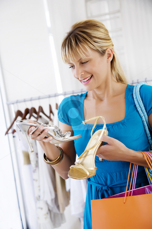Shopping selection stock photo, Woman shopping by Liv Friis-Larsen