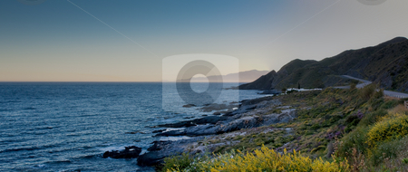 Coastline panorama stock photo, Panoramic view of  southern spain coastline Mojacar at the other side of the bay by Santiago Hernandez