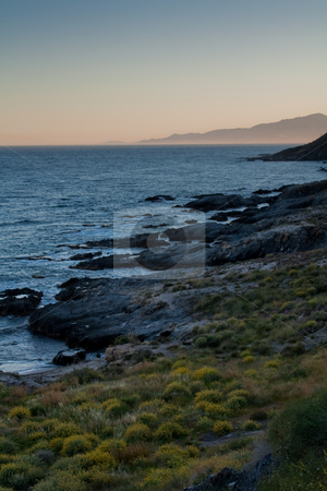 Coastline view stock photo, View of  southern spain coastline Mojacar at the other side of the bay by Santiago Hernandez