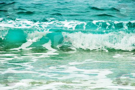 Turquoise wave stock photo, Blue wave formation with foam in adriatic sea by Julija Sapic